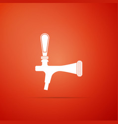beer tap icon isolated on orange background vector image