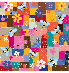 Bees and flowers pattern vector