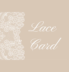 Beige lace border card vector