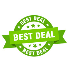 best deal round ribbon isolated label best deal vector image