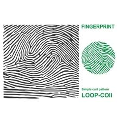 Black fingerprint shape secure identification ID vector image