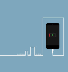 black phone charging with energy bank vector image