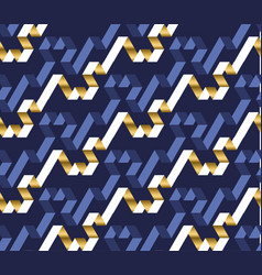 blue and gold color labyrinth seamless pattern vector image
