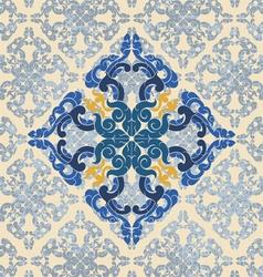 Blue art floral vintage vector
