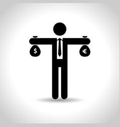 Business man black icon money vector
