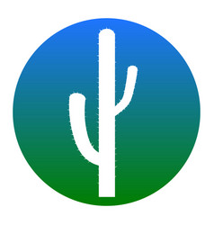 Cactus simple sign white icon in bluish vector