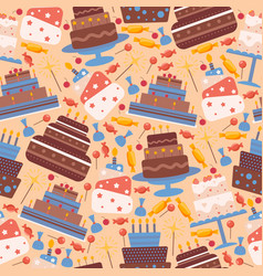 cakes seamless pattern icons vector image