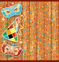 Carnival background with masks and hat vector
