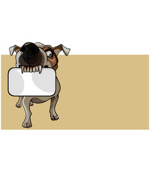cartoon brown dog keeps an empty card in his teeth vector image