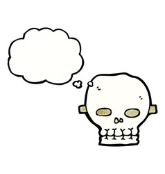 Cartoon spooky skull mask with thought bubble vector