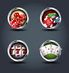 casino four steely rounded badge icons for uigame vector image