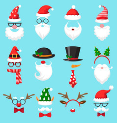 christmas cartoon hats xmas santa hat elf cap vector image