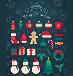 Christmas decorations and toys collection vector
