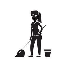 cleaning with a mop black concept icon vector image