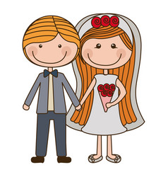 Colorful caricature couple in wedding suit with vector