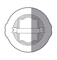 contour square emblem with ribbon icon vector image