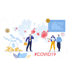 Coronavirus outbreak and stock market chart fall vector