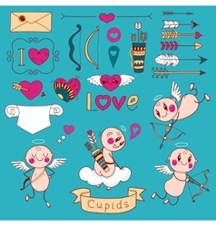 Cupids arrows hearts and other design elements vector image