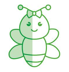 cute and tender female bee kawaii style vector image