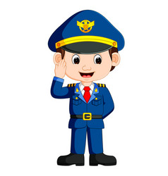 cute happy airplane pilot waving vector image