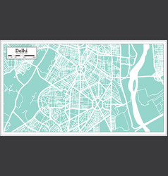 Delhi india city map in retro style outline map vector