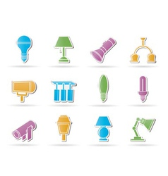 different kind of lighting equipment vector image vector image