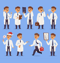 Doctor man character different pose nursery vector