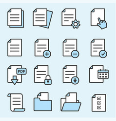document flat line icons for graphic and web vector image