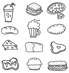 Doodle of food hand draw collection vector image