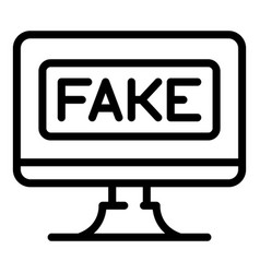 Fake computer news icon outline style vector