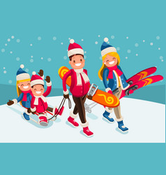family snow skiing people isometric cartoon vector image