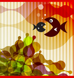 Fish on retro background vector