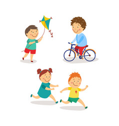 Flat kids activity in kindergarten set vector
