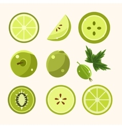 Fresh Green Fruits And Vegetables Set vector