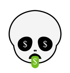 funny baskull with tongue out smiley vector image