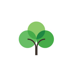 geometric flat green tree logo icon element vector image