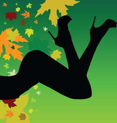 Girl on a leaf background silhouette vector