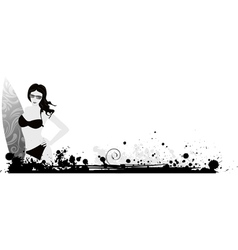 girl surf grunge vector image