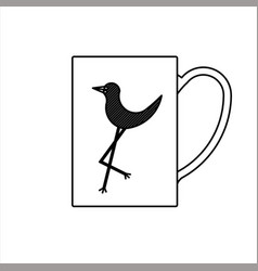 Glass sketch design with bird on vector