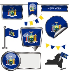 Glossy icons with New Yorker flag vector image