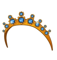 Golden crown with sapphires womens head accessory vector image