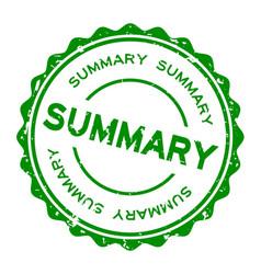 Grunge green summary word round rubber seal stamp vector