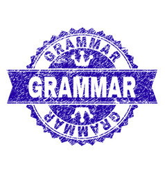 Grunge textured grammar stamp seal with ribbon vector