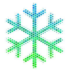 Halftone blue-green snowflake icon vector