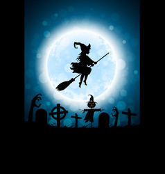 Halloween funny background with bat and haunted vector