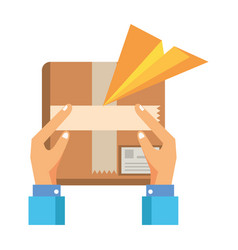 hands lifting box packing postal service vector image