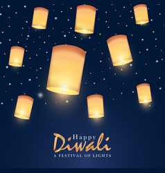 happy diwali card indian festival gold lantern vector image