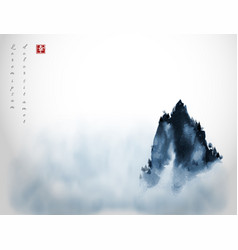 High mountain peak in fog traditional oriental vector