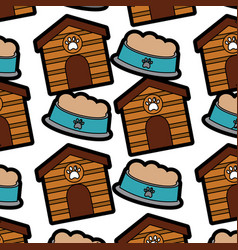 House and food bowl pet patternimage vector