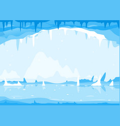 ice cave winter bachground vector image
